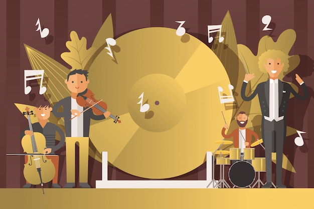 Musicisti della gente di prestazione in vestiti, illustrazione. il personaggio maschile suona musica classica su strumenti musicali, violino Vettore Premium