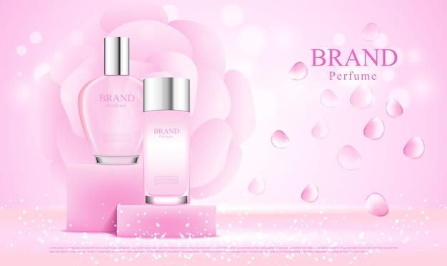 Bottiglie di profumo in mostra, design pubblicitario Vettore Premium