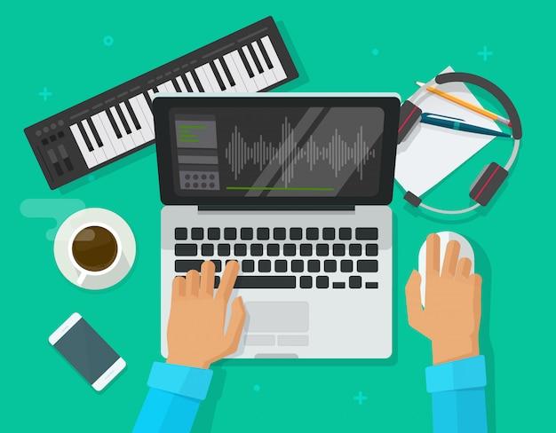 La persona compone musica elettronica sul computer portatile Vettore Premium