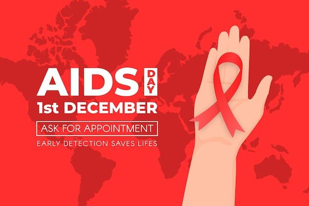 Persona in possesso di un nastro rosso su sfondo giornata mondiale contro l'aids Vettore Premium