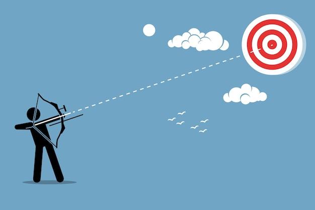 Persona che spara freccia con l'arco a un bersaglio. concetto di ambizione, missione, successo e realizzazione. Vettore Premium