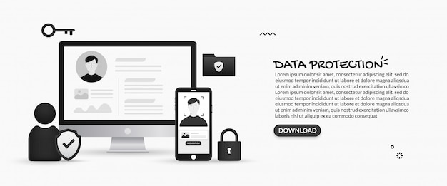 Sicurezza delle informazioni personali e sistema di protezione dei dati Vettore Premium