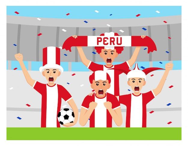 Sostenitori del perù in design piatto Vettore Premium