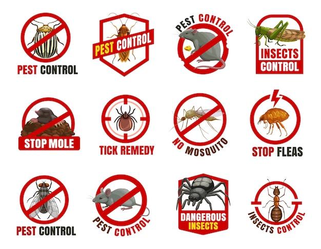 Icone di controllo dei parassiti. scarabeo del colorado, scarafaggio e ratto con locuste, talpe, zecche e zanzare con pulci. vola, topo e ragno con divieto di cartoni animati di formiche, avvertono insetti pericolosi Vettore Premium