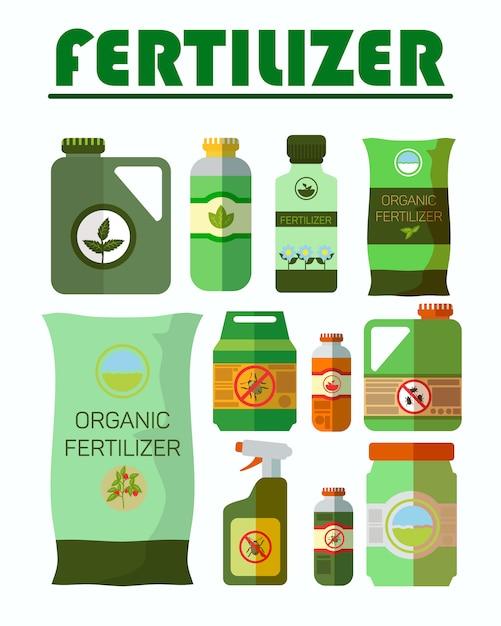 Set di illustrazioni di pesticidi, bottiglie di erbicidi Vettore Premium