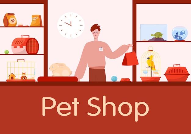 Interiore del contatore del negozio di animali con venditore operaio maschio. Vettore Premium