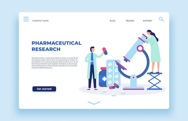 Ricerca farmaceutica. illustrazione della pagina di atterraggio degli scienziati laboratorio, scienziato farmaceutico e ricercatori di laboratorio Vettore Premium