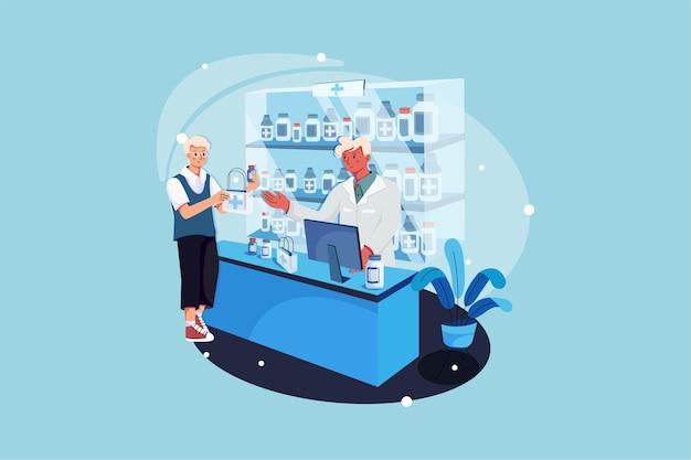 Farmacista e cliente in farmacia Vettore Premium