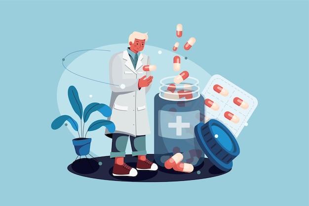 Farmacista in piedi con il concetto di illustrazione di farmaci Vettore Premium