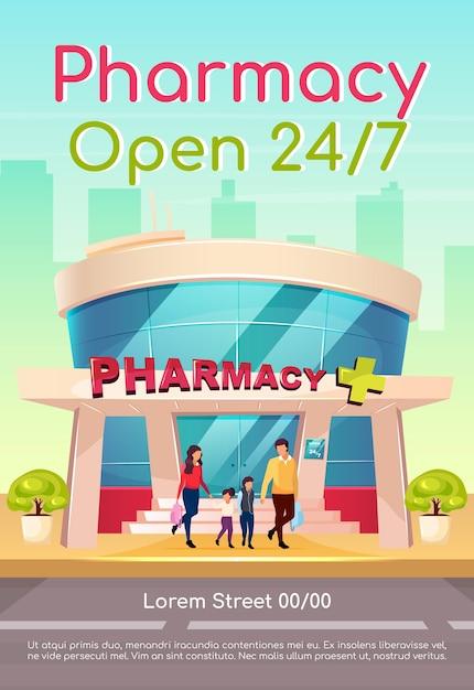Farmacia aperta 24 7 poster modello piatto. medicina e sanità. farmaci disponibili tutti i giorni. brochure, booklet one page concept design con personaggi dei cartoni animati. volantino farmacia, opuscolo Vettore Premium
