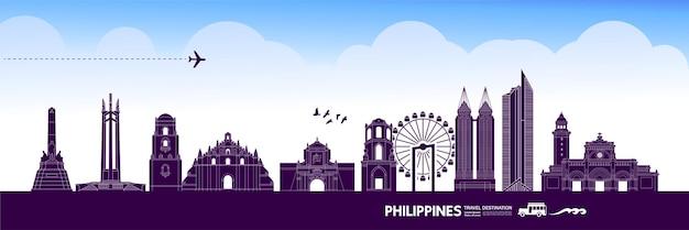 Illustrazione di destinazione di viaggio filippine. Vettore Premium