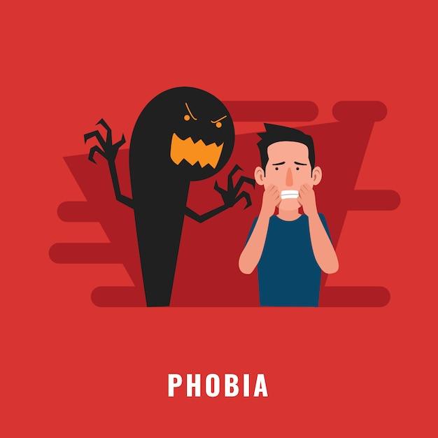 Disturbo psicologico fobia Vettore Premium