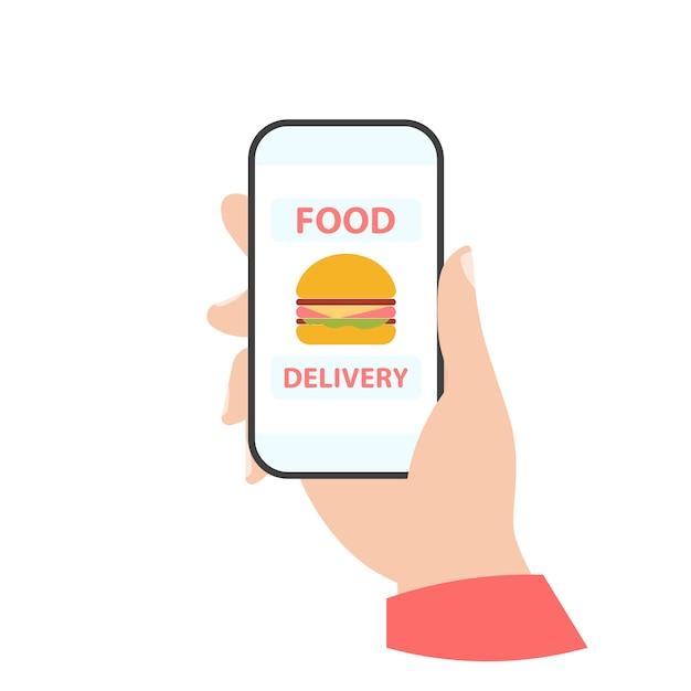 Telefono in mano. consegna del cibo Vettore Premium