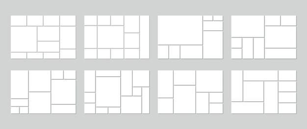 Modello di collage di foto. mood board vuoto. set di griglie di immagini. Vettore Premium
