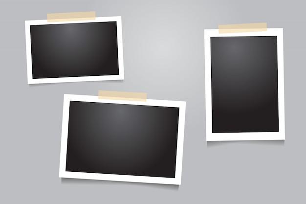 Modello cornice per foto con nastro adesivo, nastro adesivo Vettore Premium
