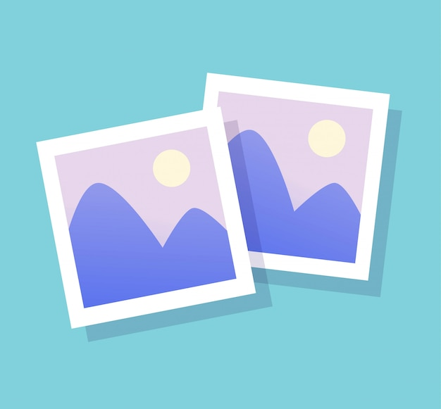 Icona della foto immagine vettoriale e immagine della carta di stile piatto cornice di fotografia Vettore Premium