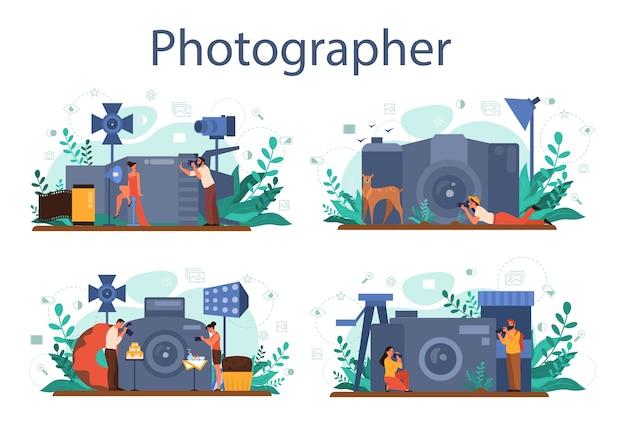 Insieme di concetto del fotografo. fotografo professionista con fotocamera a scattare foto. occupazione artistica e corsi di fotografia. Vettore Premium