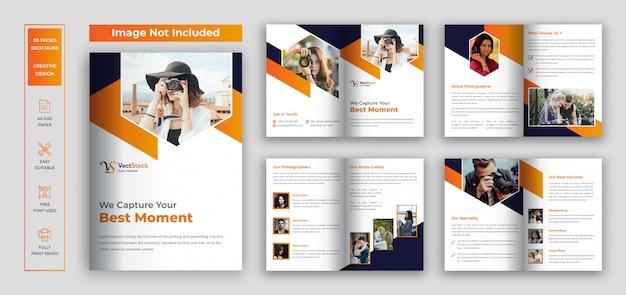 Modello di progettazione brochure fotografia Vettore Premium