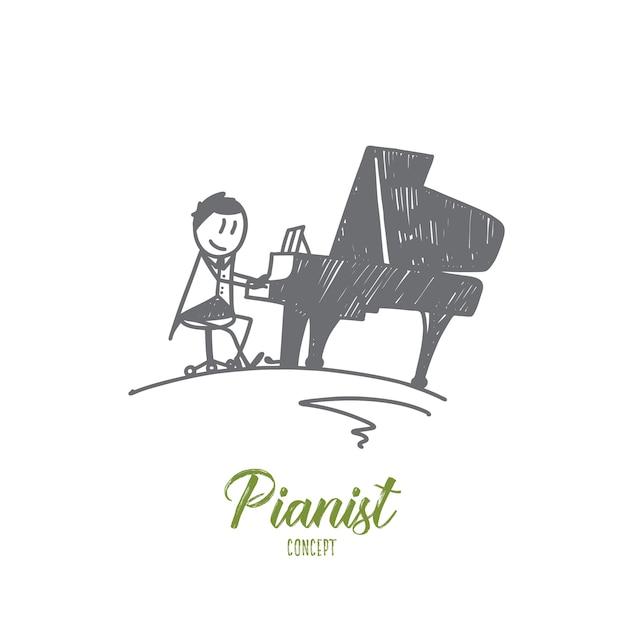 Illustrazione di concetto di pianista Vettore Premium