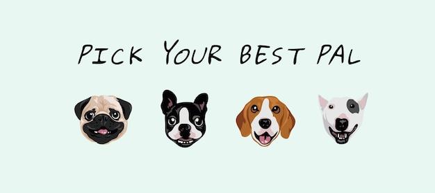 Scegli il tuo miglior slogan amico con l'illustrazione del fumetto di facce di cane Vettore Premium