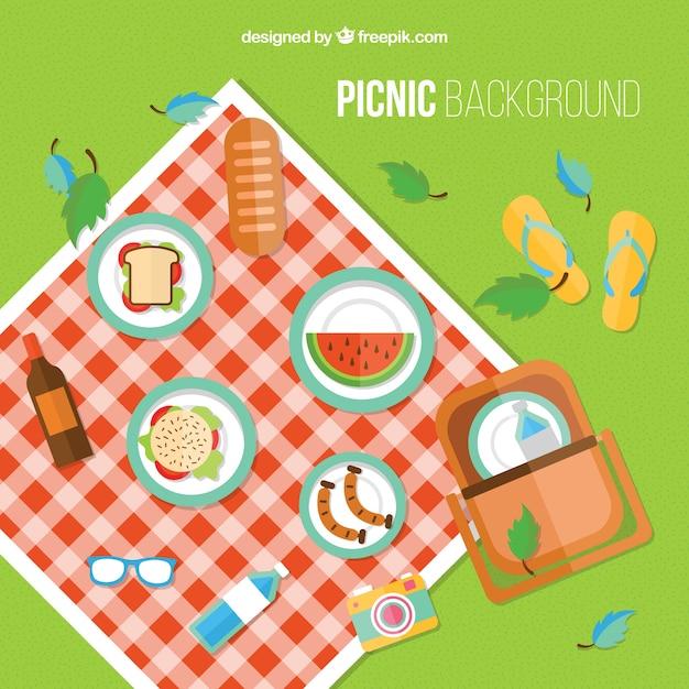 Sfondo picnic in design piatto con elementi Vettore Premium