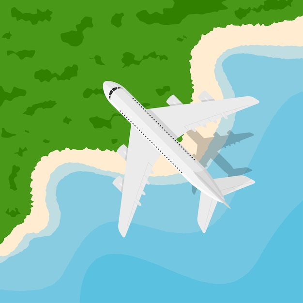 Immagine di un aereo civile che vola sopra il mare, illustrazione di stile, banner per affari, sito web ecc., viaggi, vacanze, in tutto il mondo concetto Vettore Premium