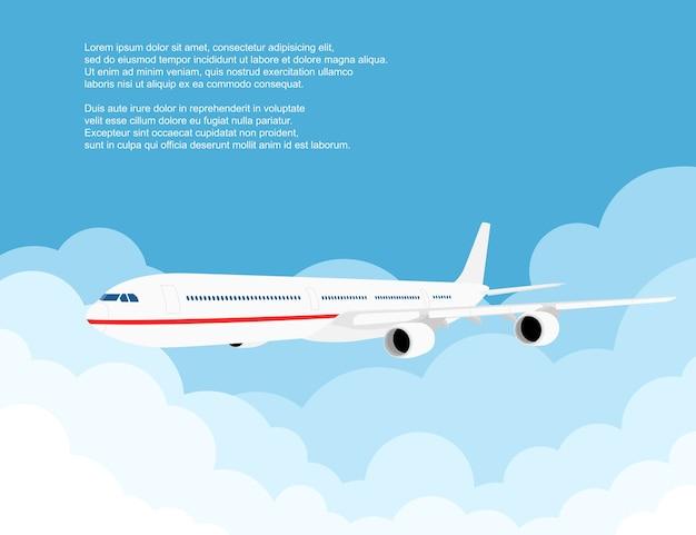 Immagine di un aereo civile con nuvole, illustrazione di stile Vettore Premium