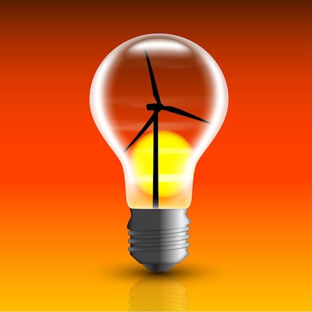 Immagine di lampadina elettrica con mulino a vento all'interno, Vettore Premium