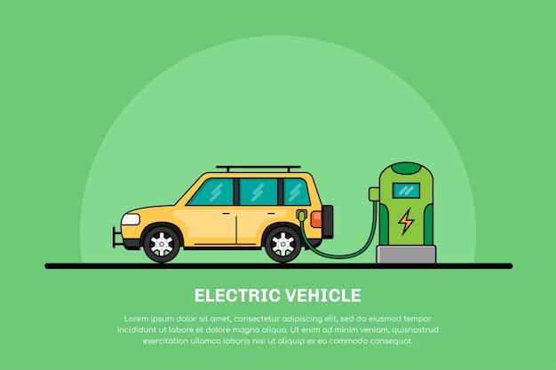 Immagine della ricarica di auto elettriche alla stazione di ricarica, concetto di mobilità elettrica, banner di linea di auto ecologiche Vettore Premium