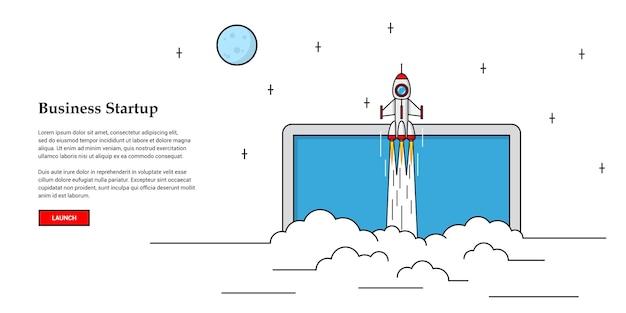 Foto di razzo volante, concetto di banner di avvio aziendale, Vettore Premium