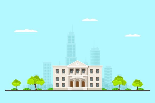 Immagine di un edificio del museo con sillhouette grande città sullo sfondo. paesaggio urbano. . Vettore Premium