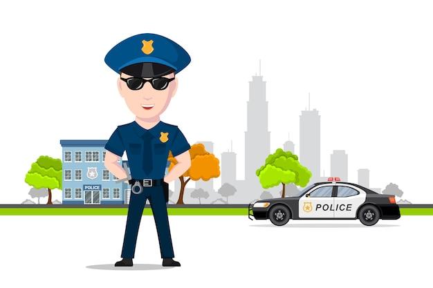 Immagine dell'ufficiale di polizia davanti all'auto della polizia e all'edificio del dipartimento di polizia. servizio di polizia, concetto di protezione della legge. . Vettore Premium