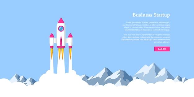 Immagine del razzo che vola sopra le nuvole, concetto di banner di avvio aziendale, Vettore Premium