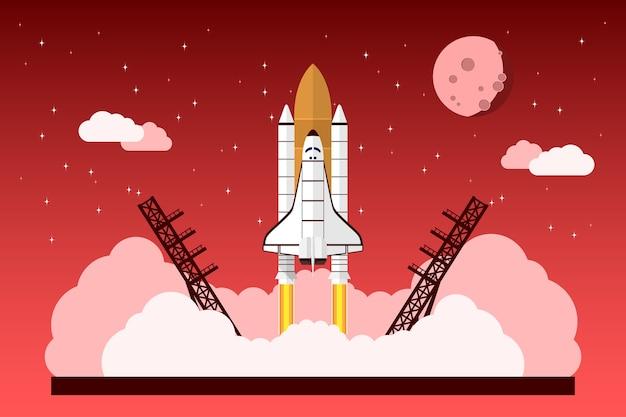 Immagine di una navetta spaziale di partenza davanti al cielo con stelle, nuvole e luna, concetto per progetto di avvio, nuova attività, prodotto o servizio Vettore Premium