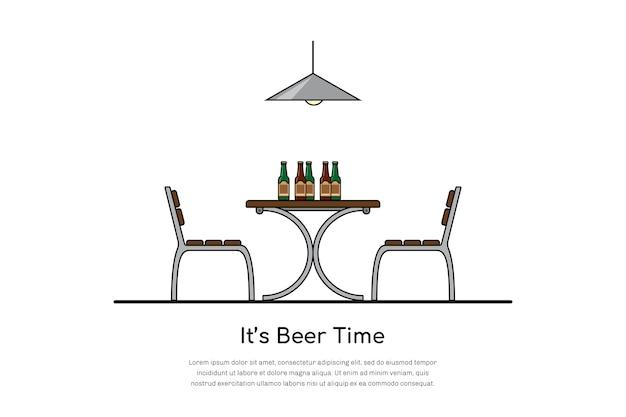 Immagine di un tavolo con due sedie e bottiglie di birra, concetto di tempo della birra, Vettore Premium