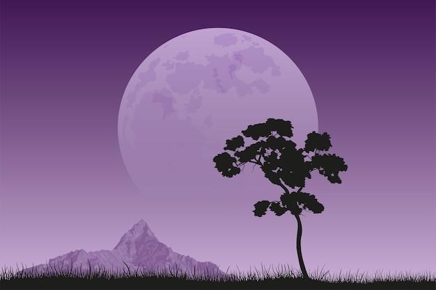Immagine di una sagoma nera albero con picco di montagna e luna piena sullo sfondo, paesaggio tranquillo e silenzioso, bellezza della natura Vettore Premium