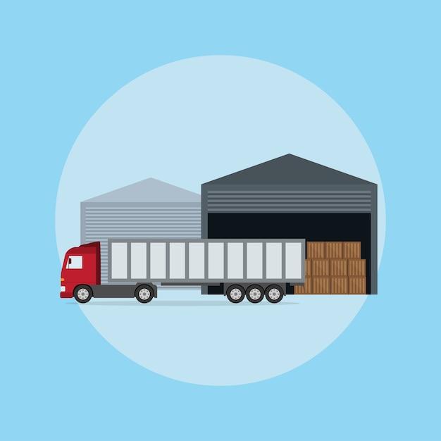 Foto di un camion davanti al magazzino, illustrazione di stile Vettore Premium