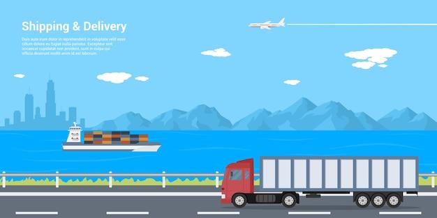 Immagine di un camion su strada, chiatta in mare e aereo nel cielo con montagne e silhouette di grande città sullo sfondo, concetto di spedizione e consegna, illustrazione di stile Vettore Premium