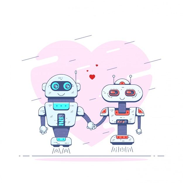 Immagine di due simpatici robot che si tengono per mano. robot innamorati. Vettore Premium