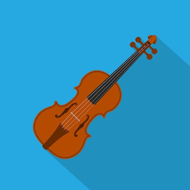 Foto di un violino su sfondo blu, illustrazione di stile Vettore Premium