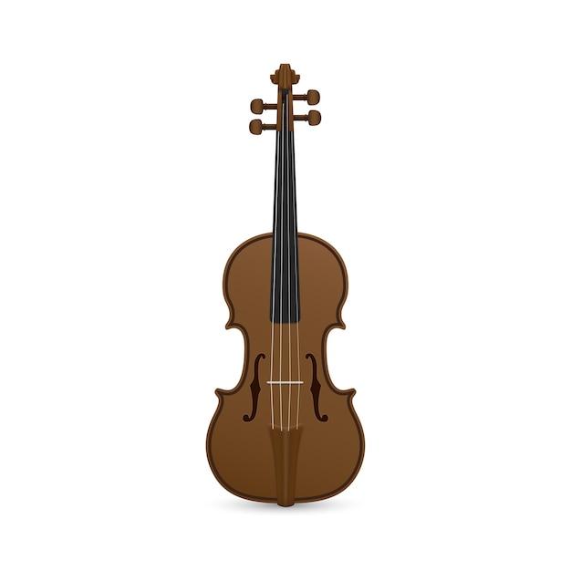 Foto di violino su sfondo bianco Vettore Premium