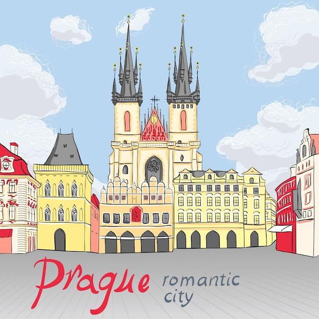 Vista pittoresca sulla piazza della città vecchia di praga, repubblica ceca Vettore Premium