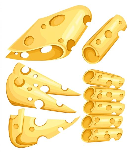 Pezzi di formaggio su bianco. genere popolare di icone di formaggio isolate. tipi di formaggio. illustrazione realistica di stile moderno su sfondo bianco pagina del sito web e app mobile Vettore Premium