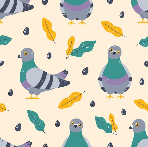 Modello senza cuciture di uccelli e foglie di piccione. Vettore Premium