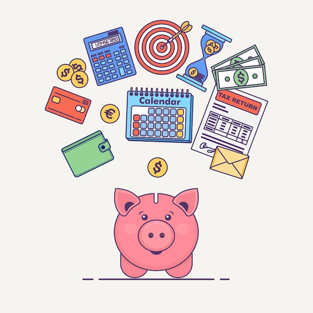 Salvadanaio con banconote da un dollaro, calcolatrice, calendario, portafoglio, modulo fiscale, carta di credito sullo sfondo. risparmia il concetto di denaro. concetto di affari. Vettore Premium