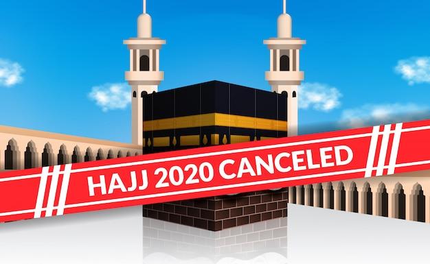 Il pellegrinaggio hajj 2020 è stato annullato per evitare la diffusione dell'epidemia di covid-19. blocco città della mecca. illustrazione santa della costruzione islamica di kaaba con il fondo del cielo blu. Vettore Premium