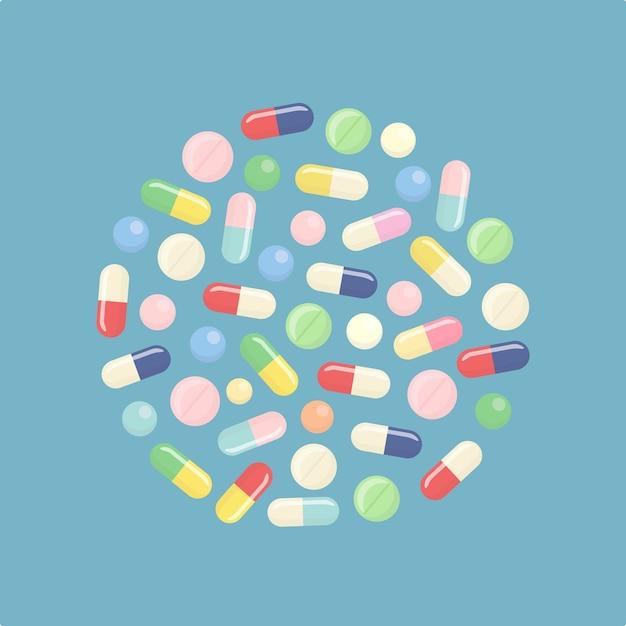Pillola e compresse, medicina isolato su sfondo. Vettore Premium