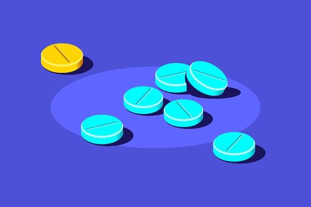 Pillole e compresse di farmaci su sfondo blu. farmaco, concetto farmaceutico. illustrazione di stile piatto. Vettore Premium