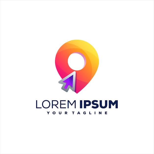 Pin design logo gradiente posizione Vettore Premium