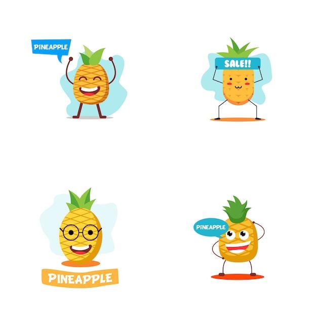 Illustrazione di carattere di ananas Vettore Premium